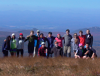Concord Academy students hiking Mount Moosilauke