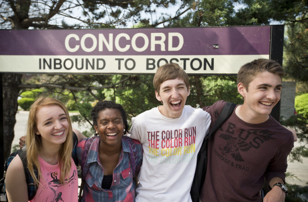 Concord Academy students at the Concord commuter rail station