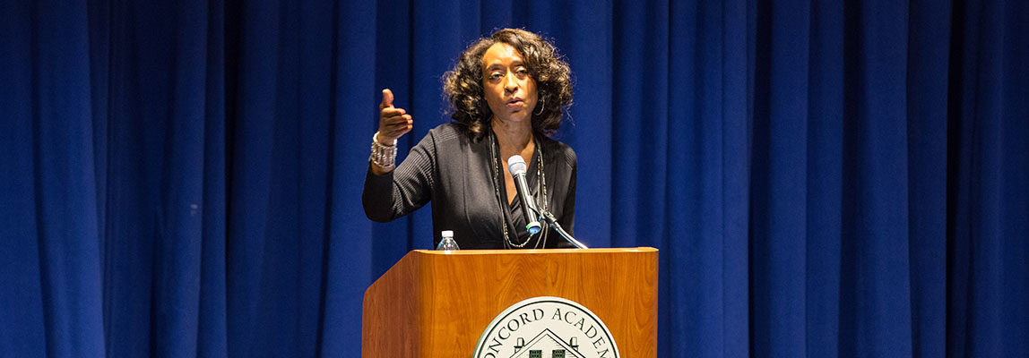 Adriene Holder speaking during Martin Luther King Day 2018 at Concord Academy