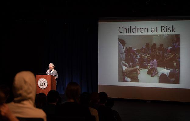 2018–19 Davidson Lecturer Patsy Aldana '64 Speaks about Migrant Children at Risk 2