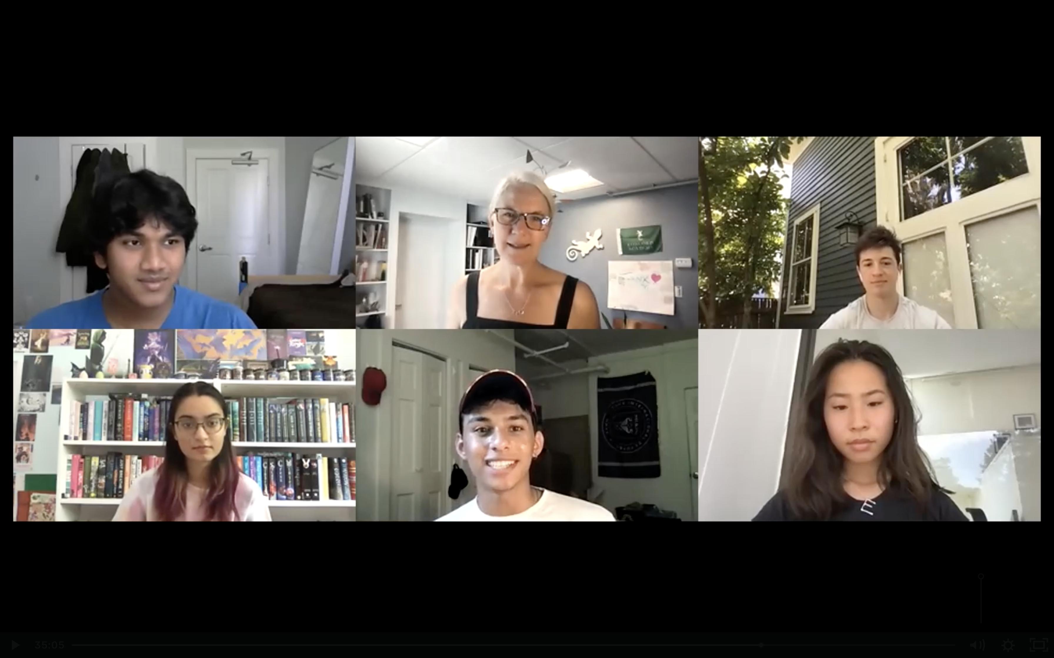 A Zoom call screenshot of Concord Academy Student Representatives